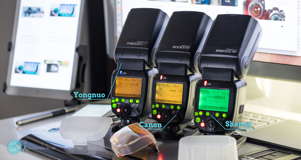 Review en Español SHANNY Comparado SN600C-RF YN600EX-RT Canon 600EX-RT