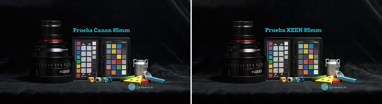 Comparativa XEEN vs Canon Rendimiento optico